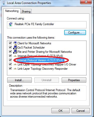 Chỉnh lại card mạng LAN - Click đúp vào Internet Protocol Version 4