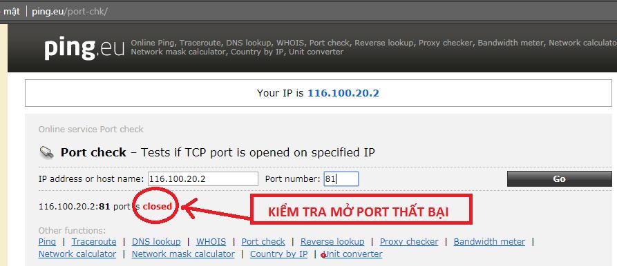 Kiểm tra mở port thất bại
