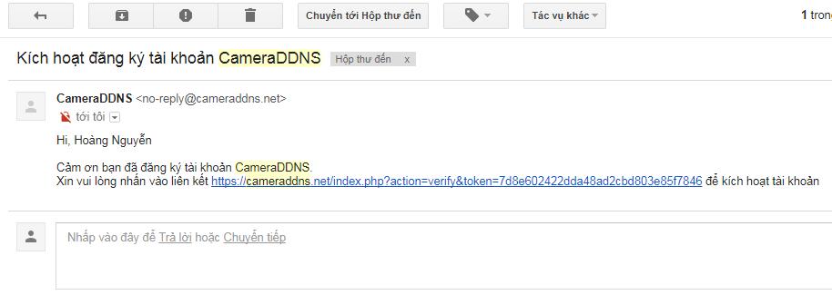 Mở email tiêu đề Kích hoạt đăng ký tài khoản CameraDDNS