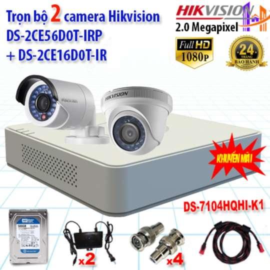 Combo Trọn Bộ 2 Camera HIKVISION 2.0MP 56D0T+16D0T+7104HQHI