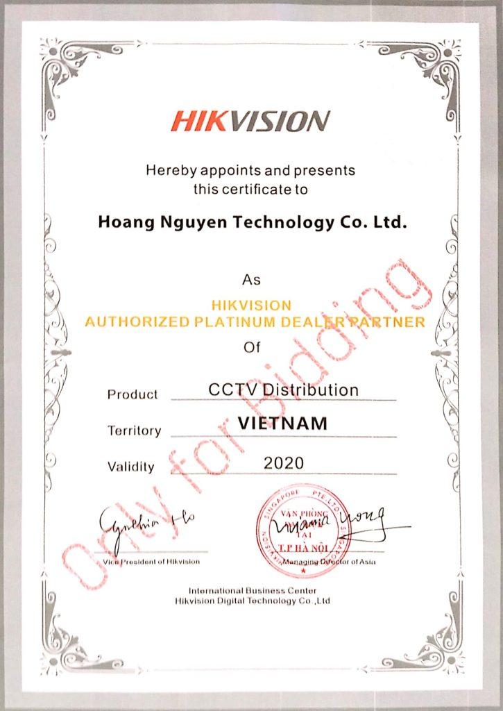 Chứng nhận đại lý camera Hikvision